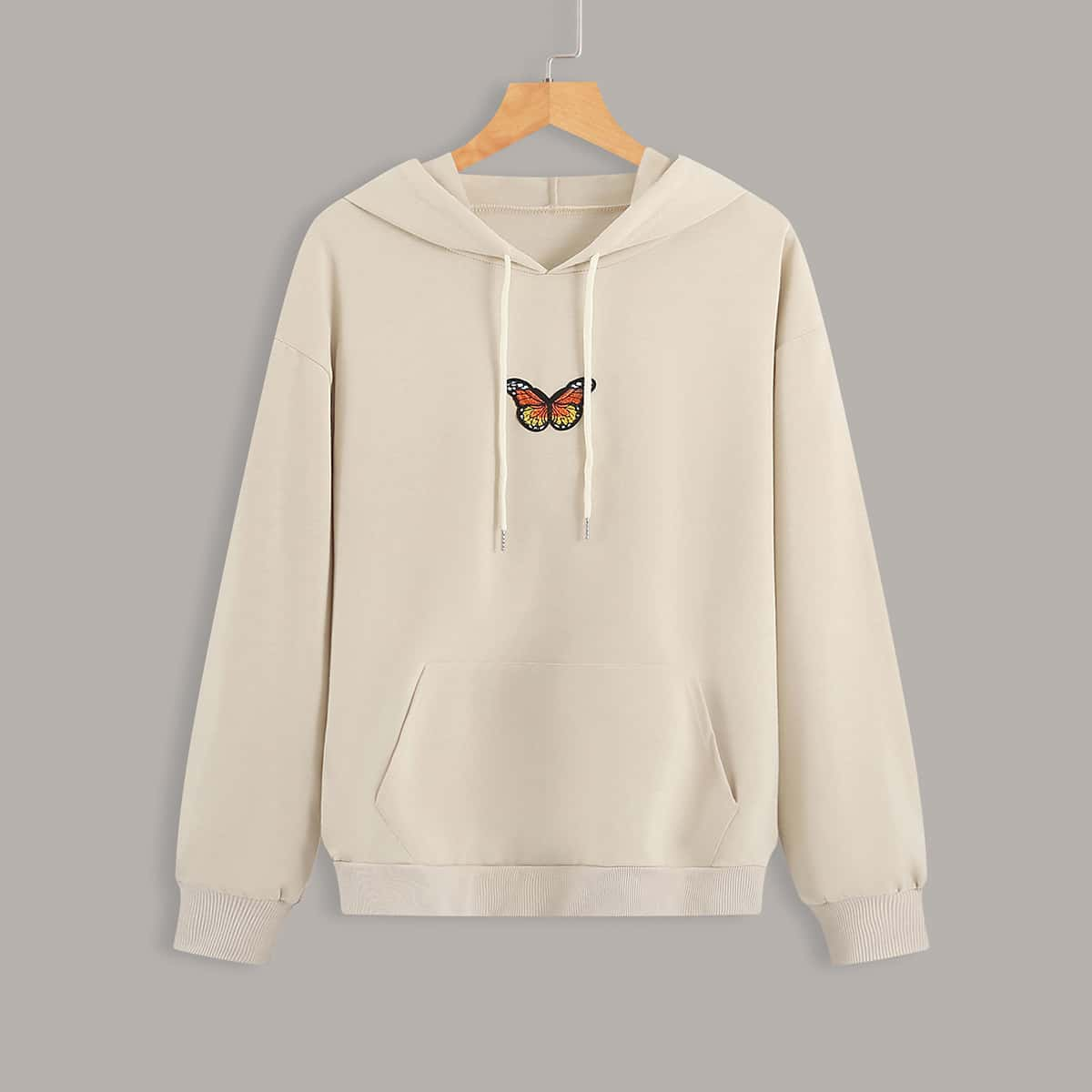 SHEIN / Butterfly Patched Kangaroo Pocket Drawstring Hoodie
