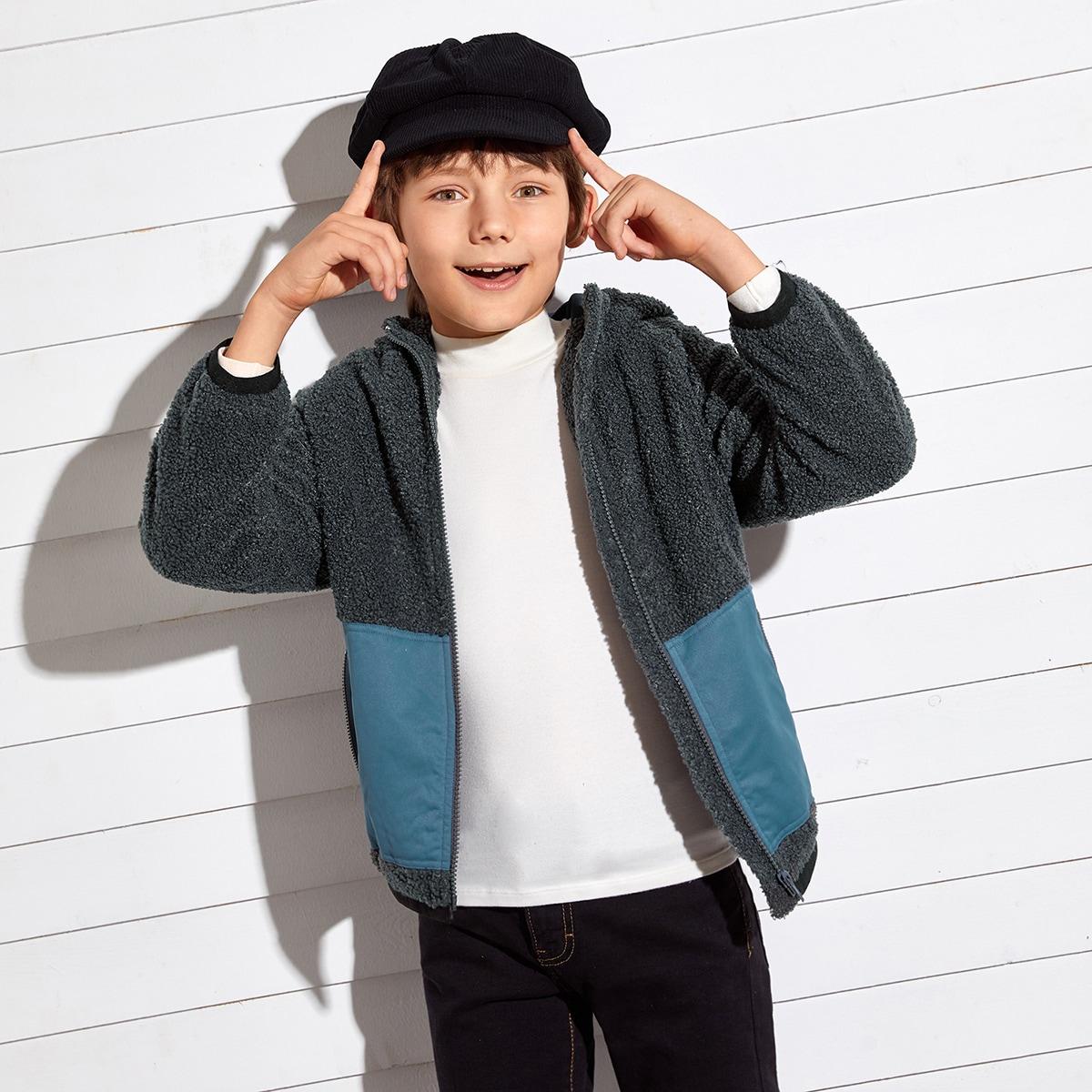 Плюшевое пальто на молнии с карманом для мальчиков от SHEIN
