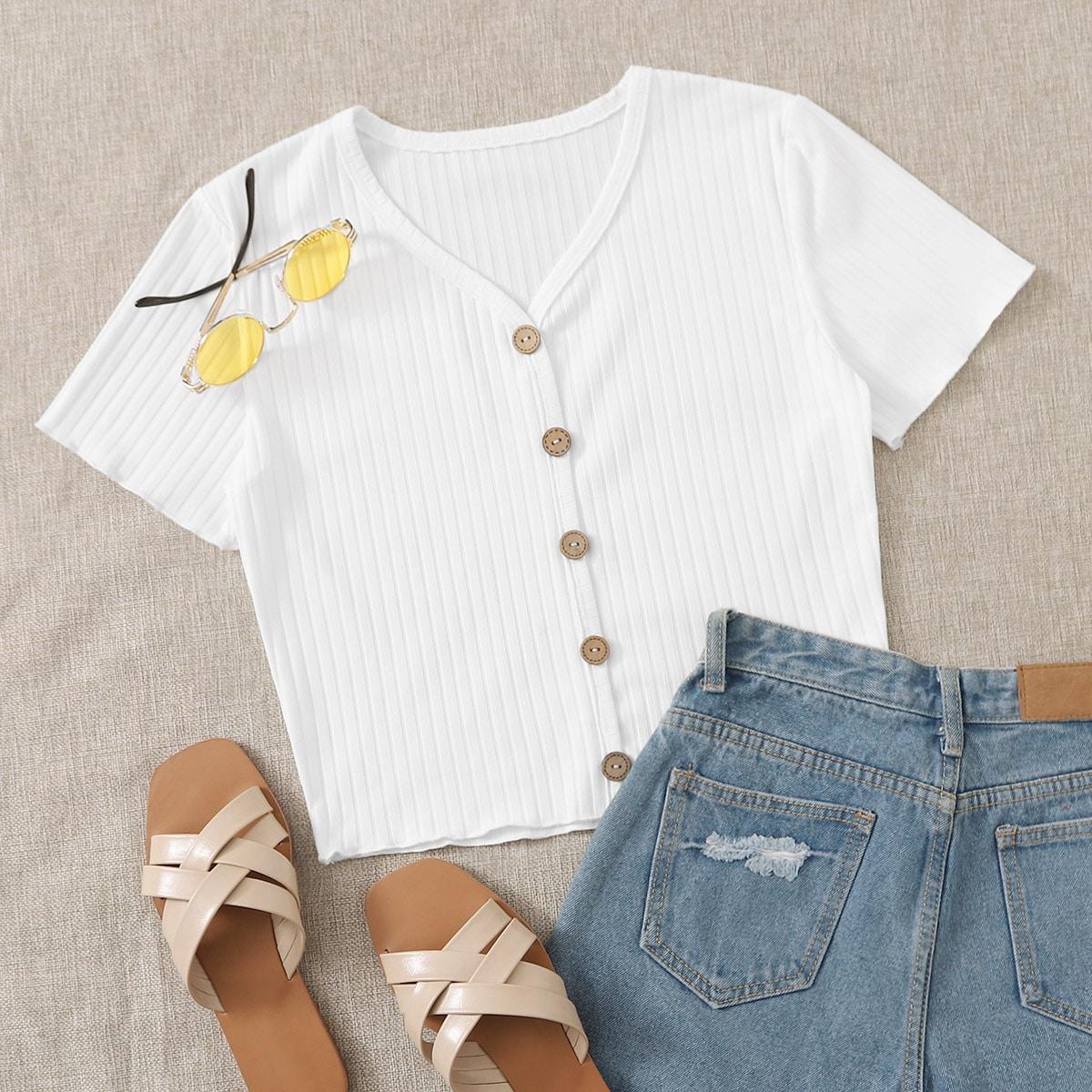 Белый Шнуровка Одноцветный Повседневный Размер плюс футболка фото