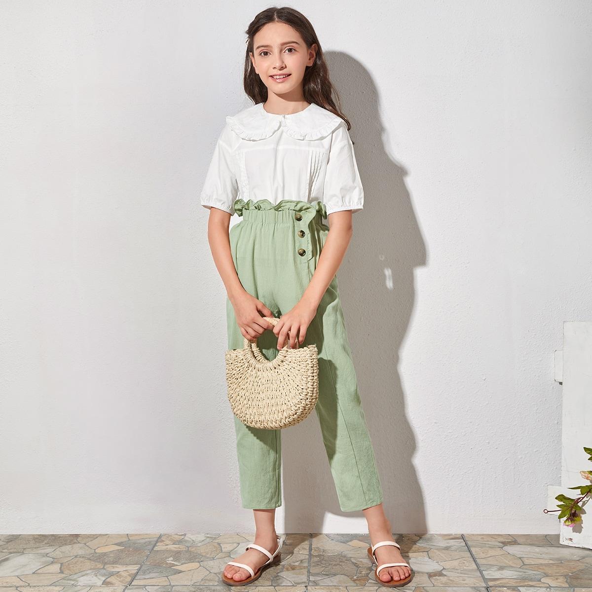 SHEIN / Top mit Rüschenbesatz und Peter-pan-Kragen und Hose Set mit Papiertaschen auf Taille