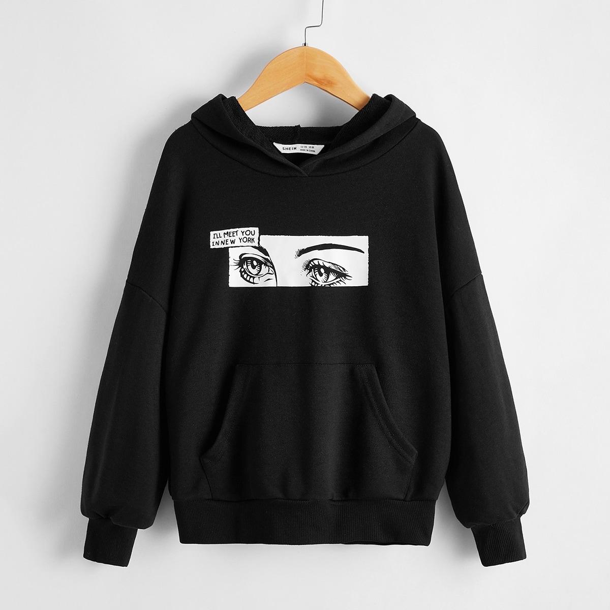 Пуловер с графическим принтом и карманом для девочек от SHEIN
