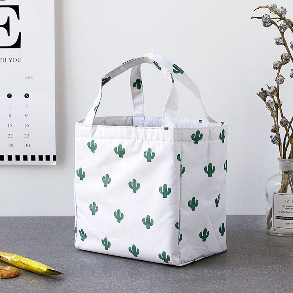 SHEIN / Cactus Print Lunch Box Bag