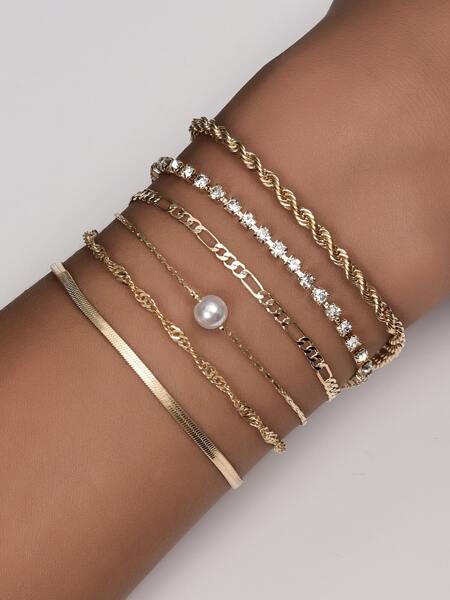 6pcs Rhinestone Decor Chain Bracelet