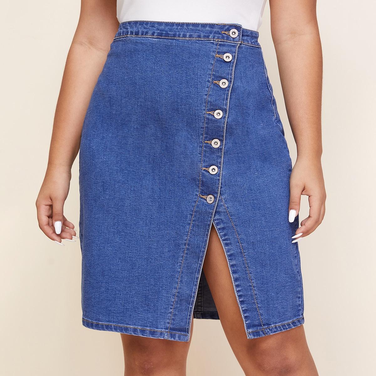 Джинсовая юбка размера плюс на пуговицах