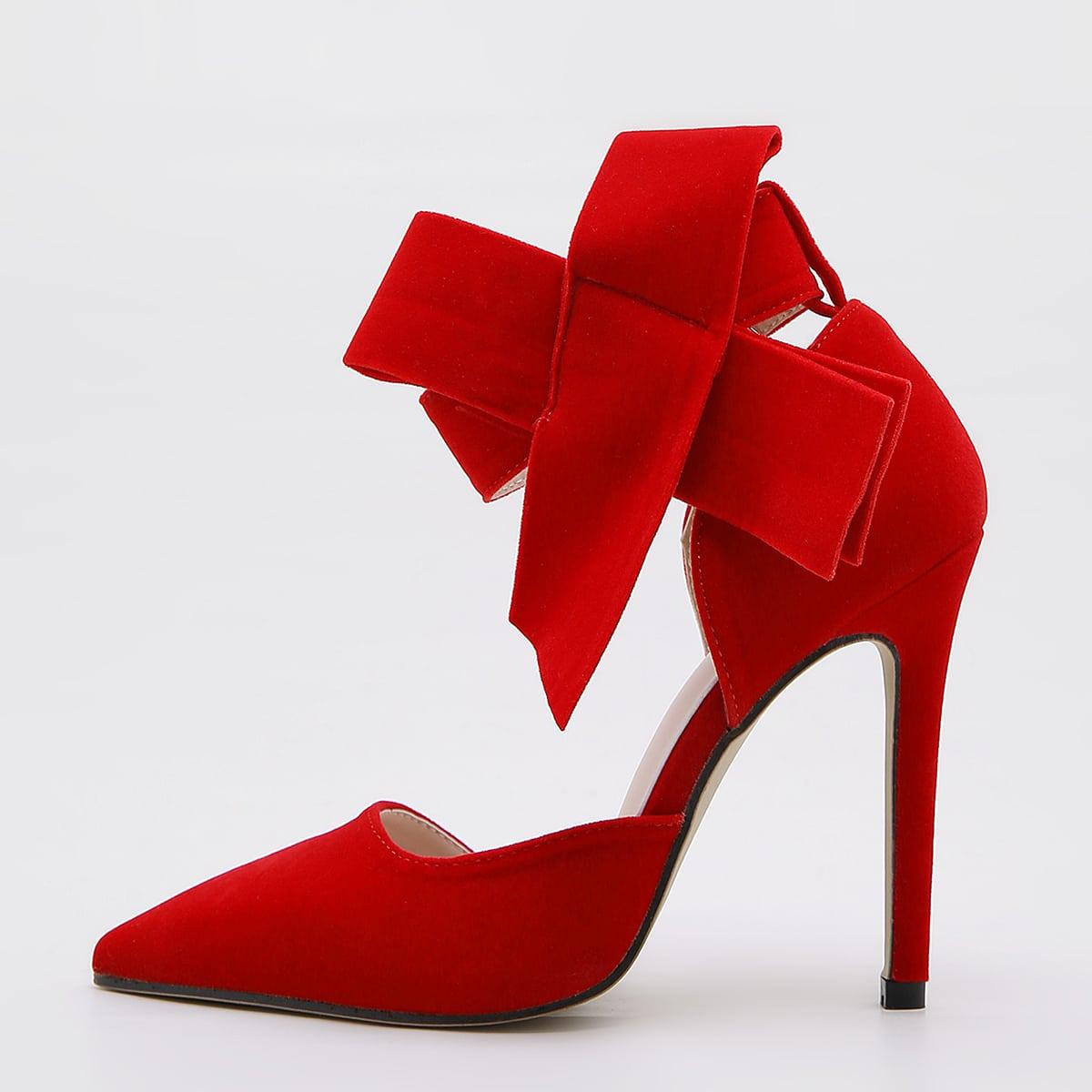 Остроконечные туфли на шпильках с бантом