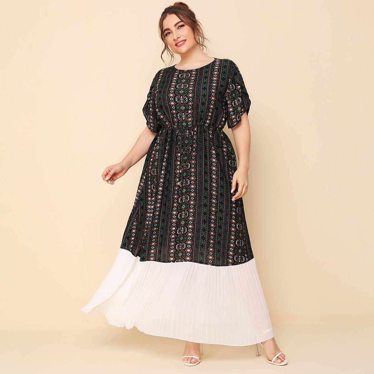 Многихцветные плиссированное Этнический Элегантный Платья размер плюс фото