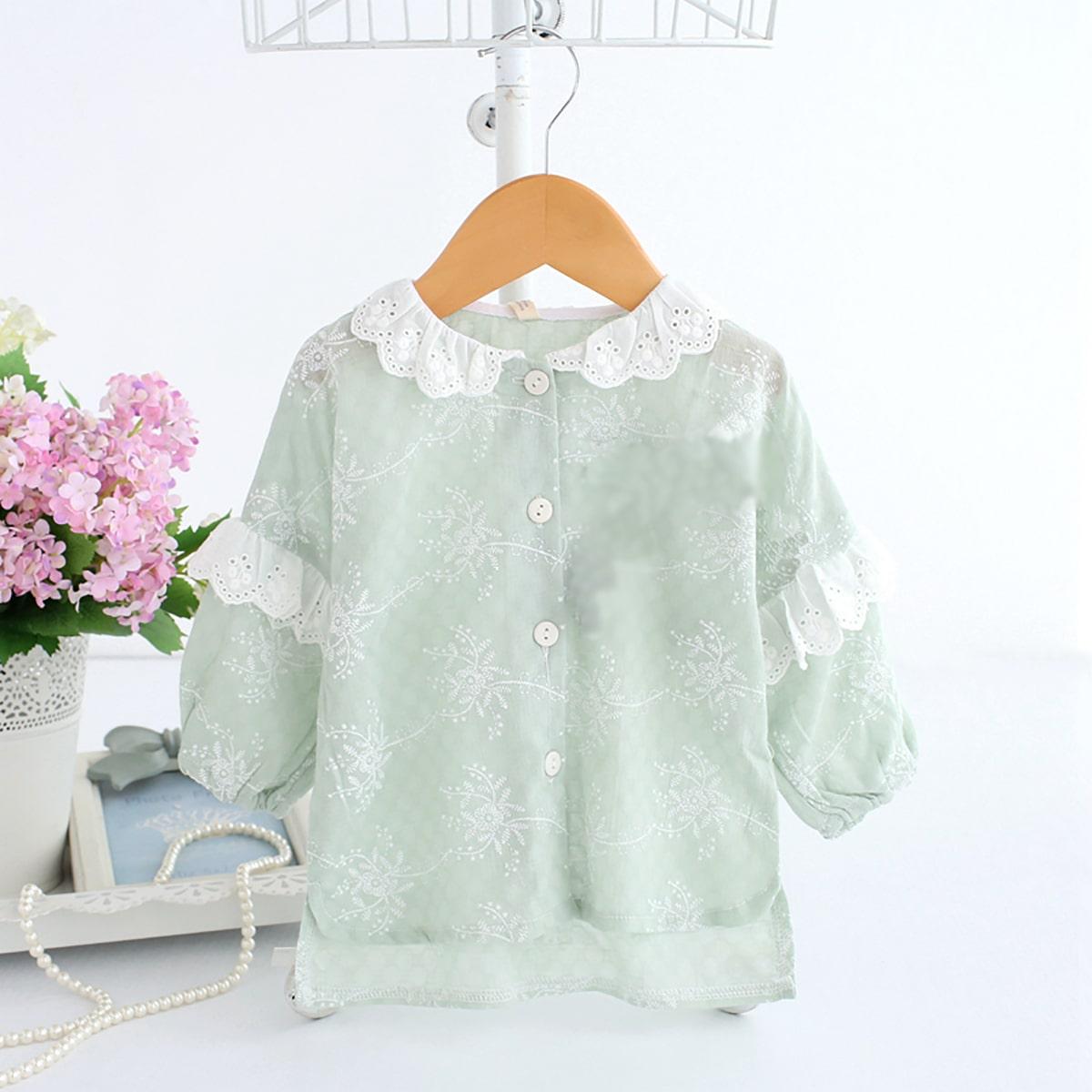 Пастельный с фестонами Контрастный цвет милый Пальто для маленьких девочек от SHEIN