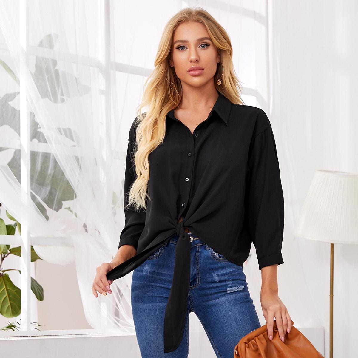 Блуза с пуговицами и узлом фото