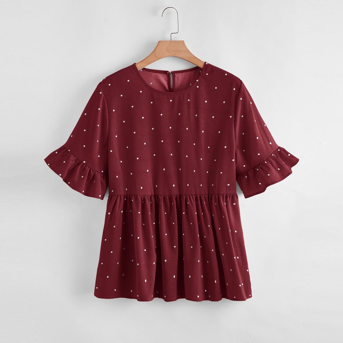 Каштановый Пуговица В горошек Повседневный Блузы размер плюс