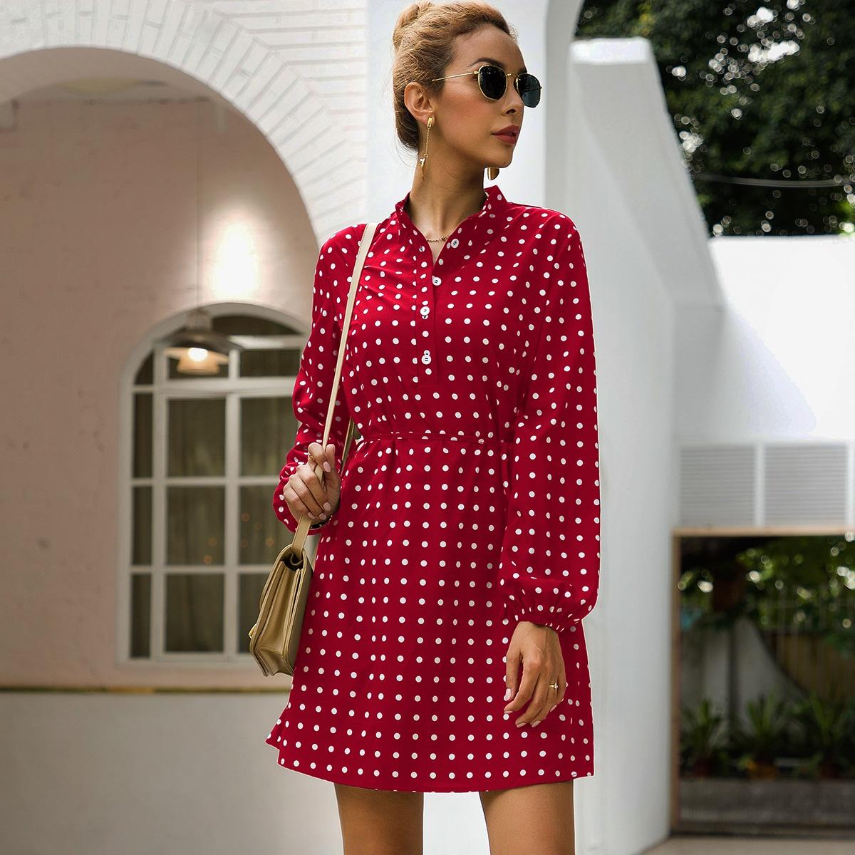 Розово-красный с поясом В горошек Элегантный Платья фото