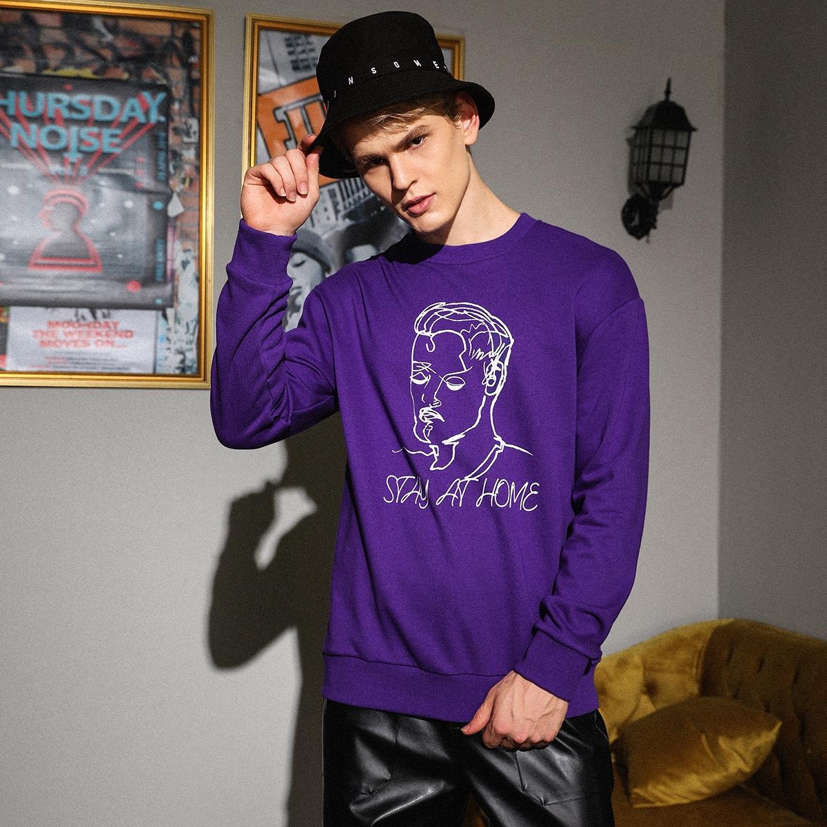 Мужской пуловер с графическим принтом от SHEIN