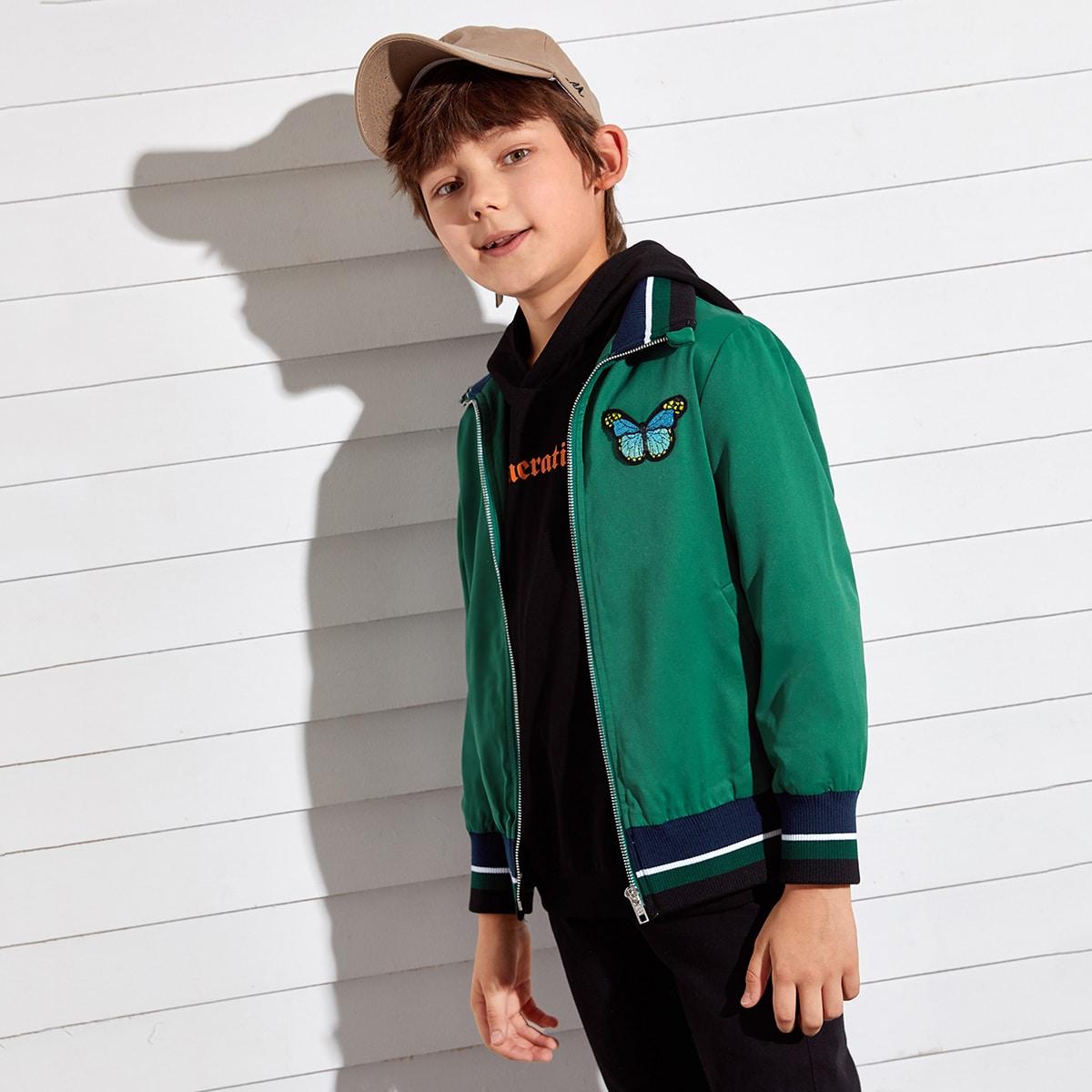 Куртка бомбер с заплатой бабочки для мальчиков от SHEIN