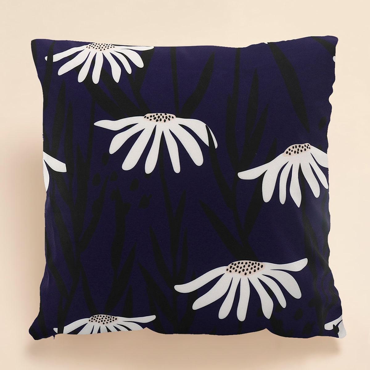 Чехол для подушки с цветочным принтом без наполнителя фото