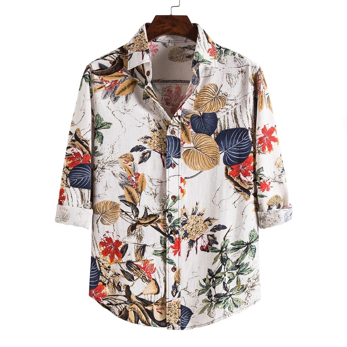 Многоцветный Однобортный Растения Отпуск Мужские рубашки фото
