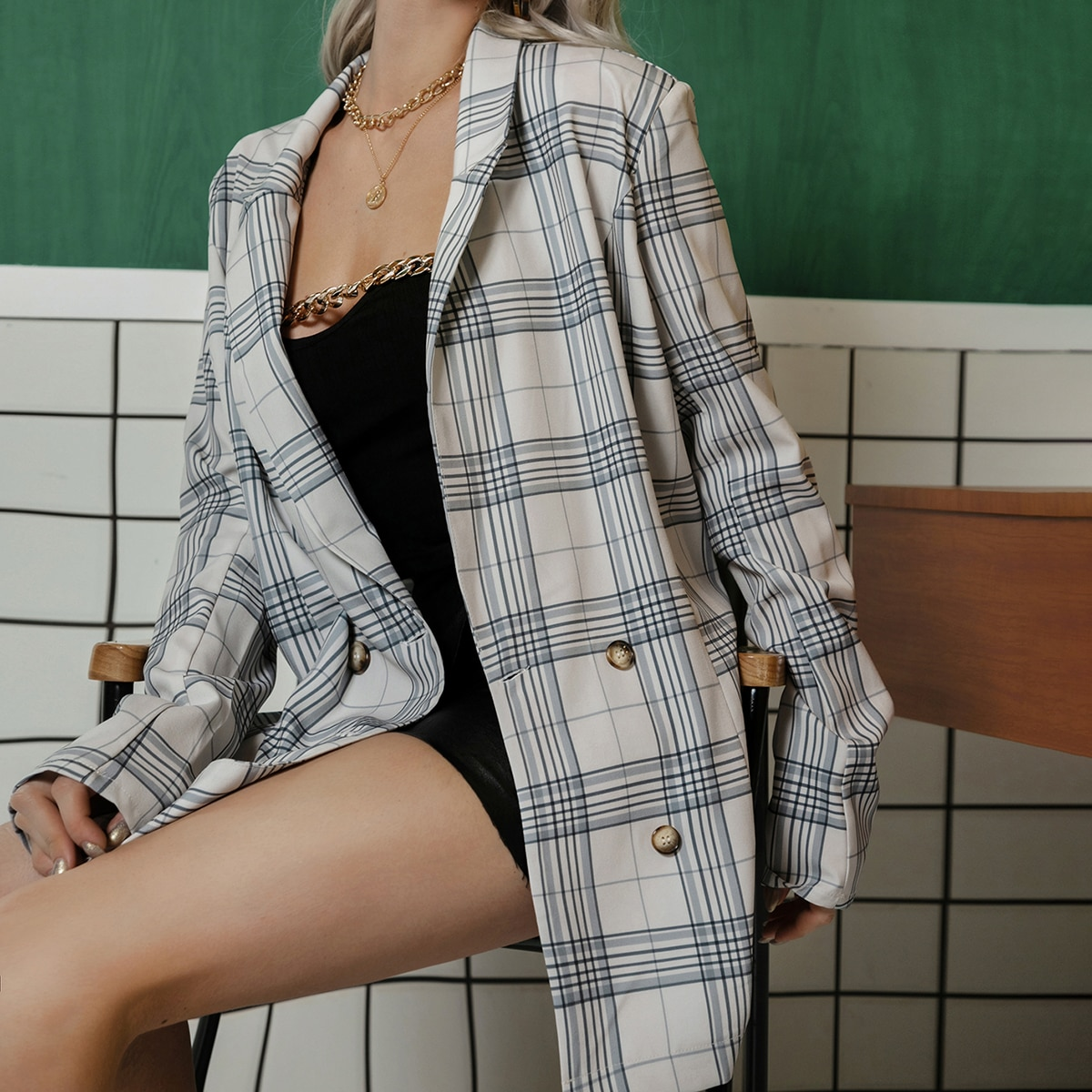 Многоцветный на пуговицах Клетчатые изображения Повседневный Пиджаки от SHEIN