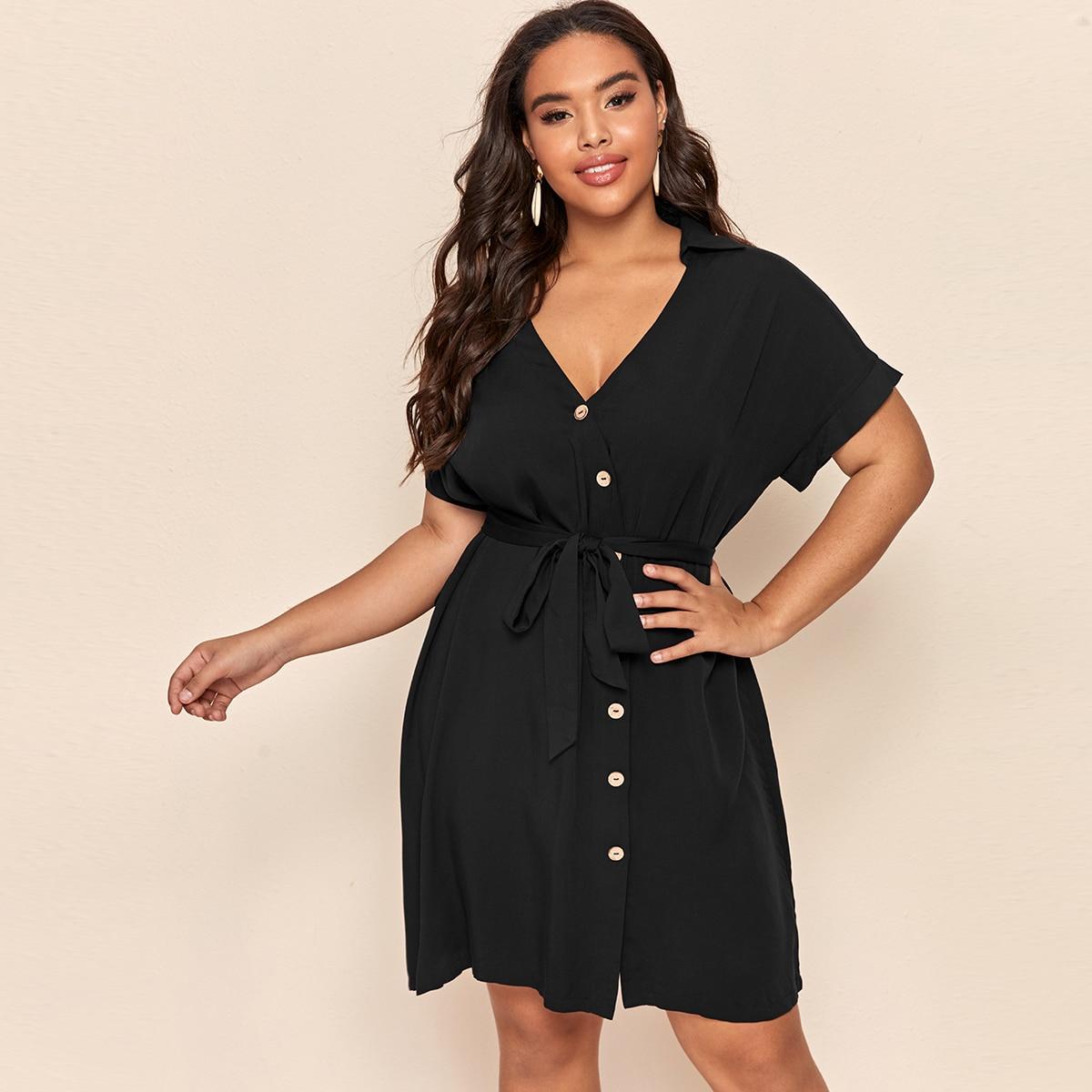 Чёрные с поясом Одноцветный Элегантный Платья размер плюс фото