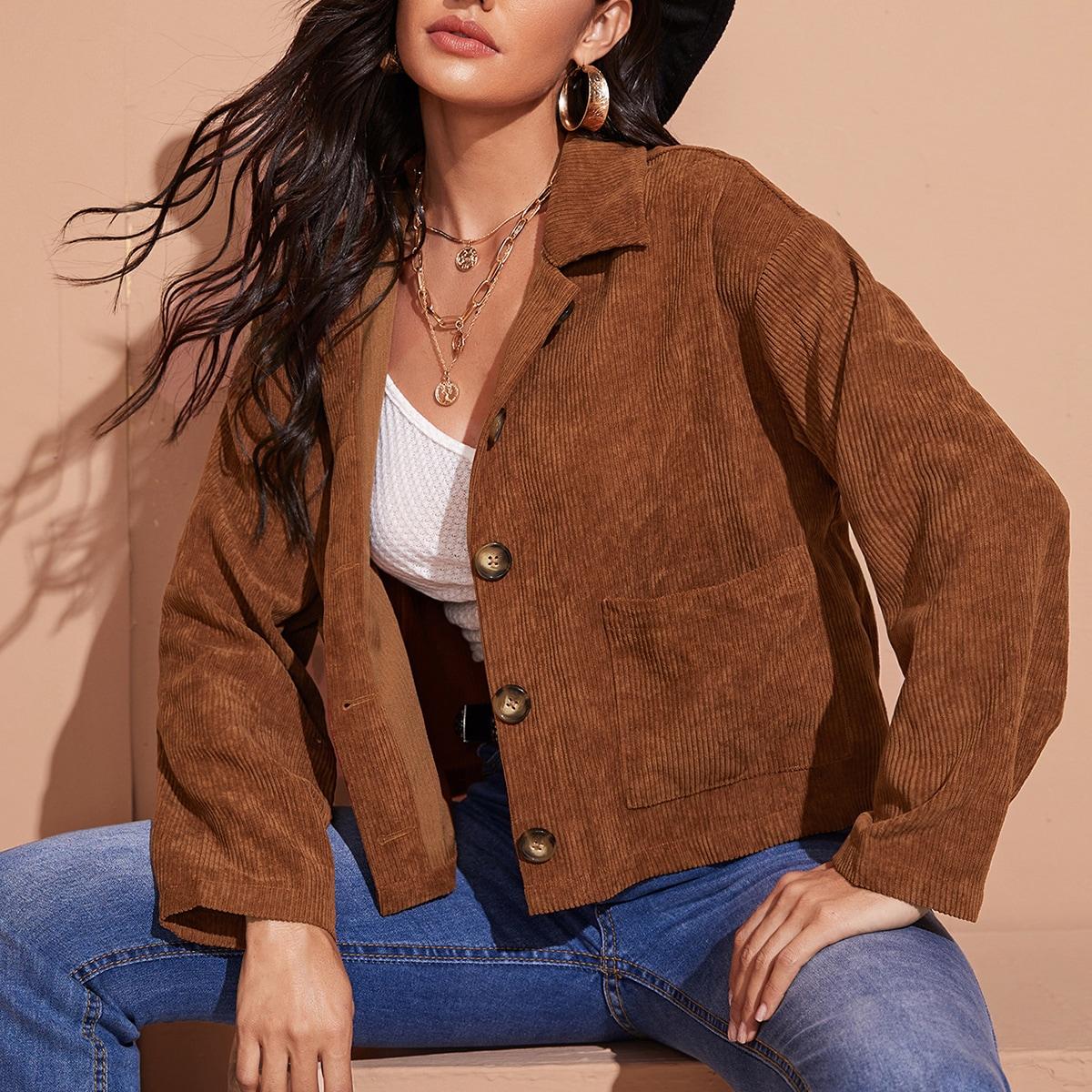 Однотонная вельветовая куртка с карманом фото