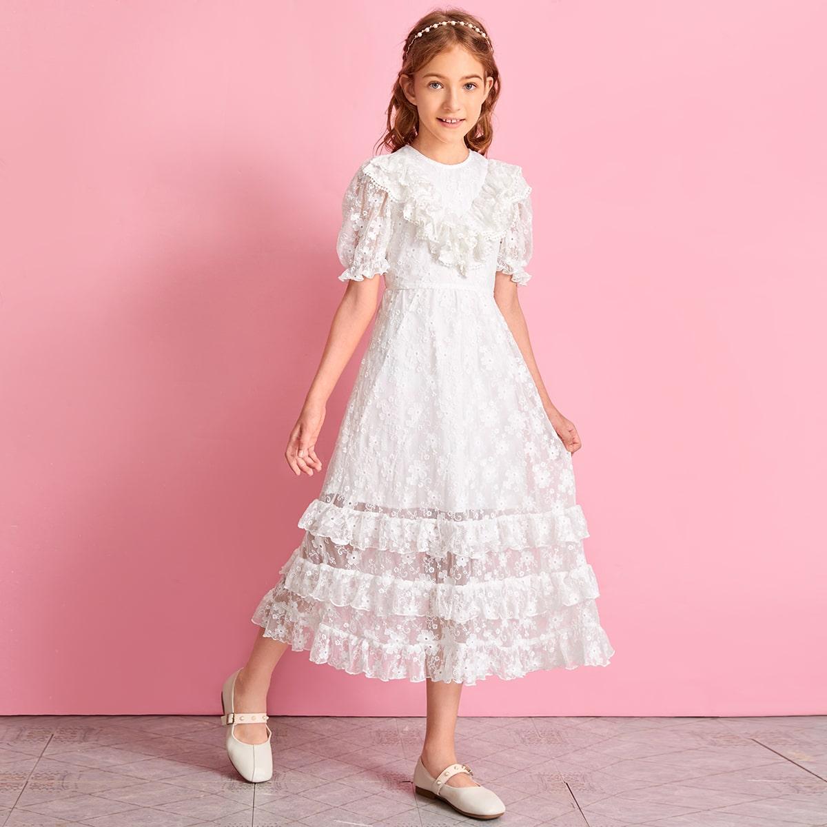 Сетчатое платье с пышными рукавами и вышивкой для девочек фото