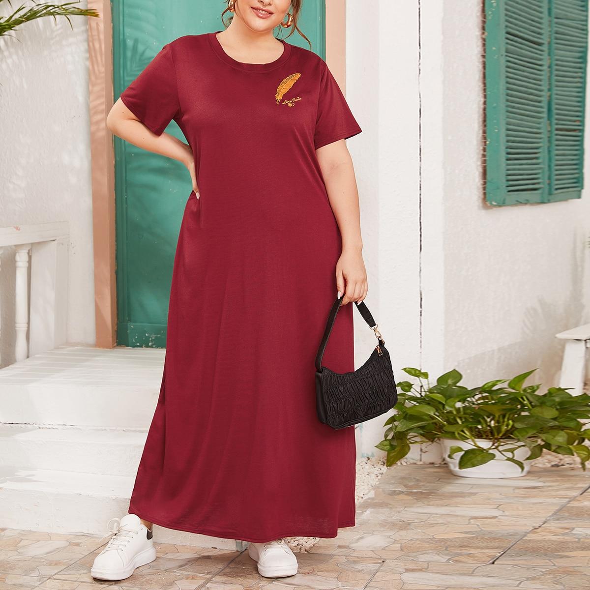 Бордовый Этнический Повседневный Платья размер плюс фото