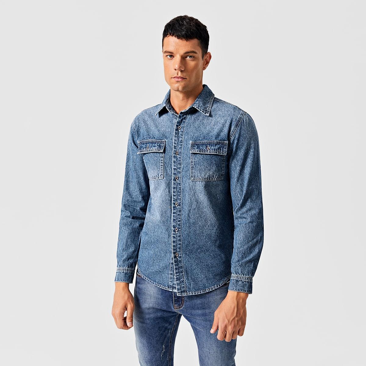 SHEIN / Camisas vaqueras para hombre Bolsillo Liso Azul lavado medio Casual