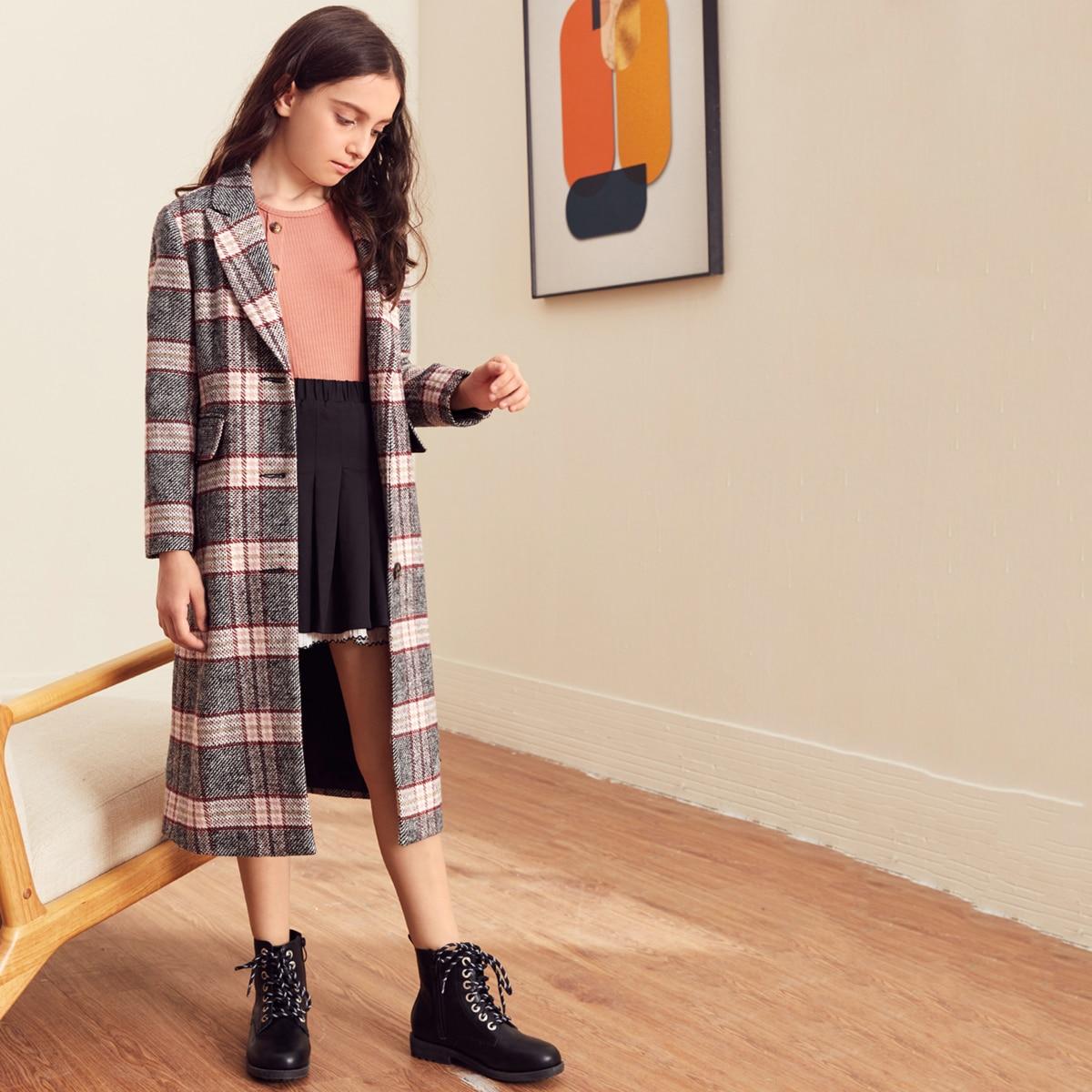 Пальто с пуговицами и карманом для девочек от SHEIN