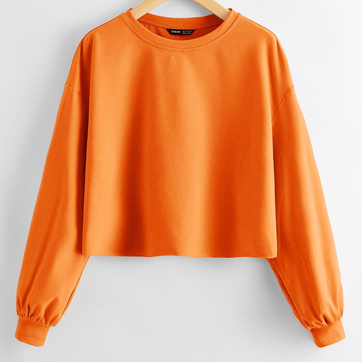 Однотонный короткий пуловер фото