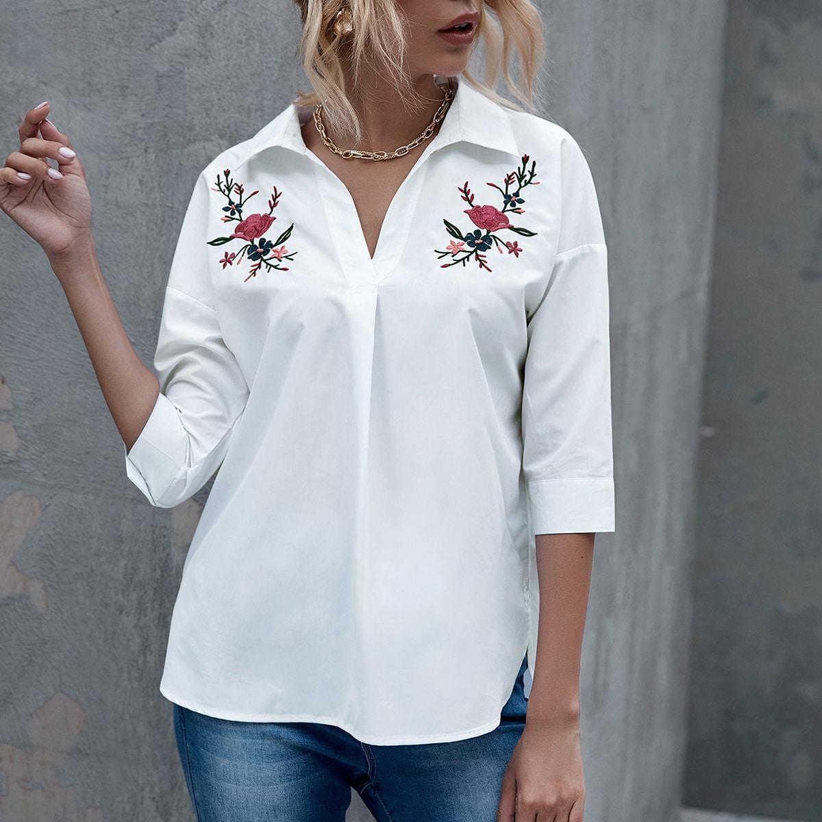 Белый с вышивкой Цветочный Повседневный Блузы фото