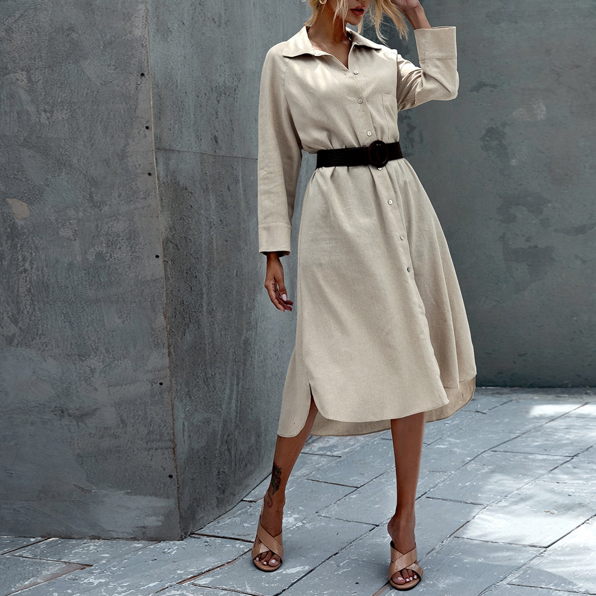 SHEIN / Solid Curved Hem Shirt Dress Without Belt