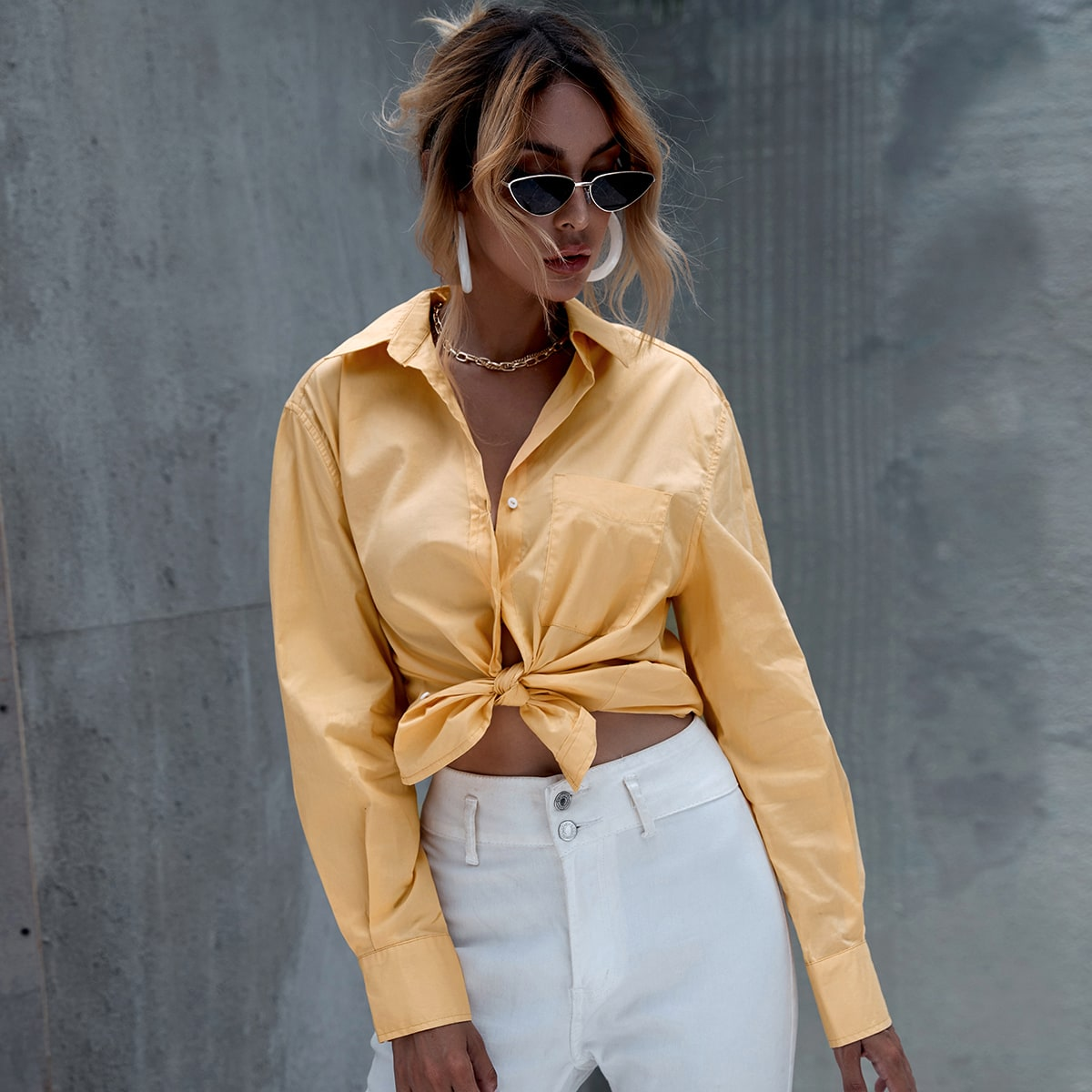 Желтый Карман Одноцветный Повседневный Блузы фото
