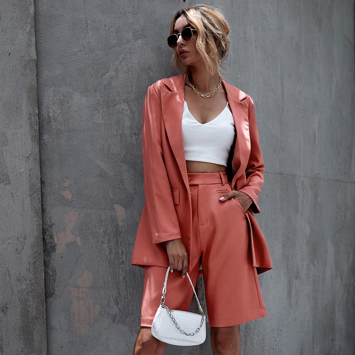 Арбуз Розовый Карман Ровный цвет Элегантный Пиджаки от SHEIN