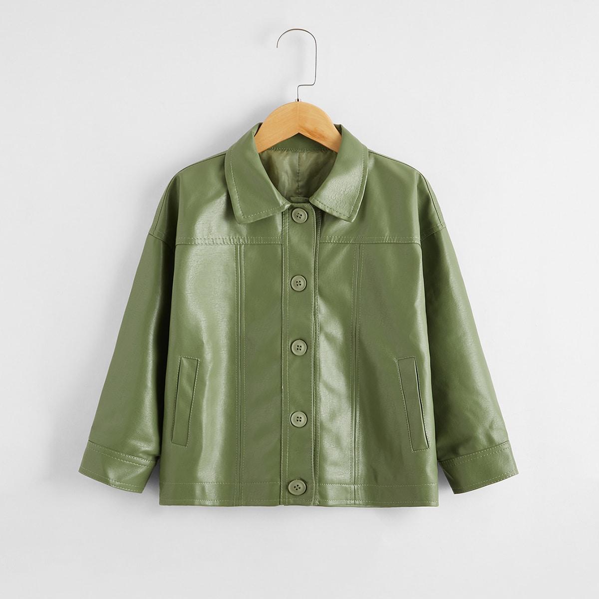 Армейский зеленый Однобортный Одноцветный Повседневный Пальто для мальчиков от SHEIN
