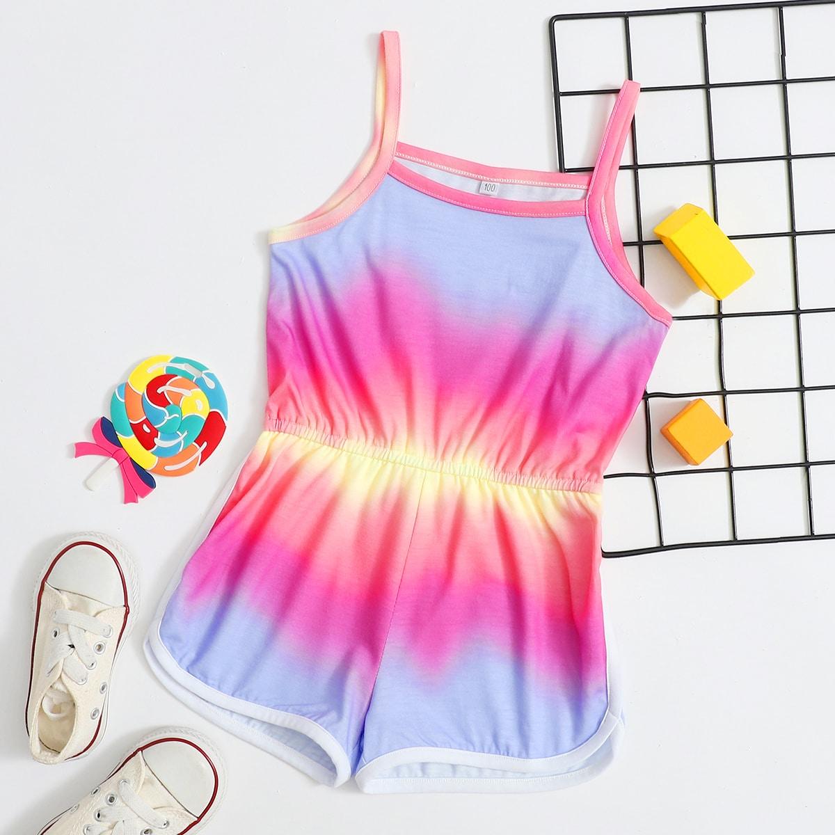 Многоцветный Контрастная отделка Галстуковый краситель Бохо Комбинезоны для девочек от SHEIN