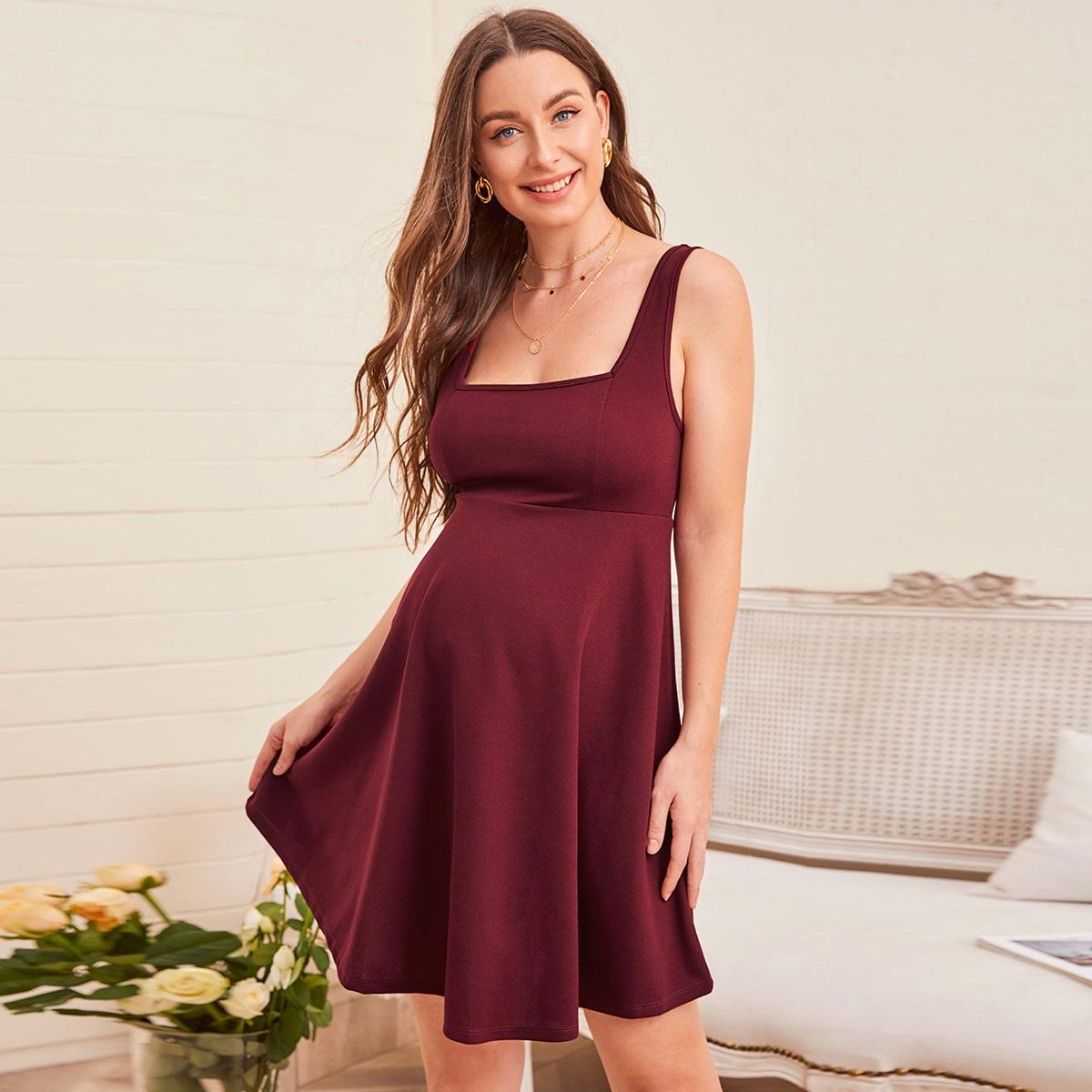 Однотонное платье с квадратным воротником для беременных от SHEIN