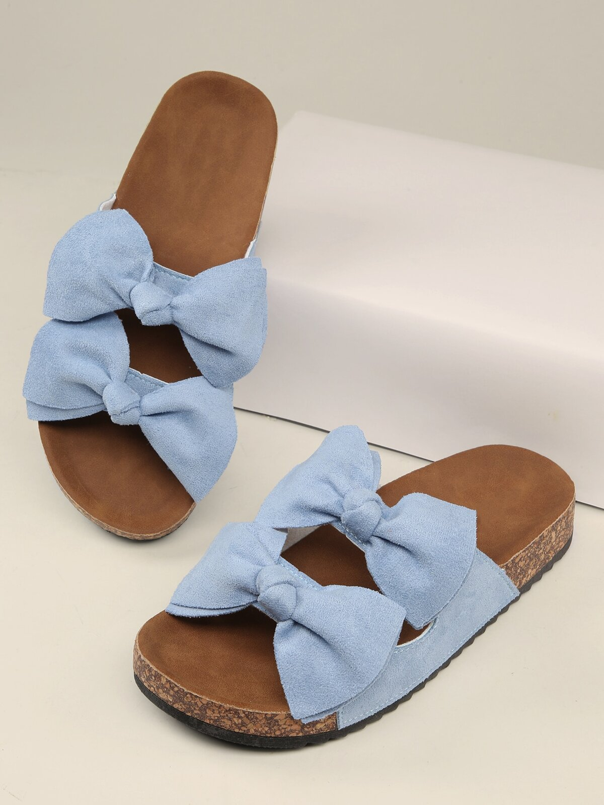 Bow Details Platform Footbed Flat Sandals