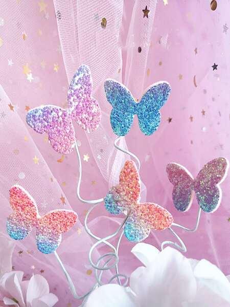 5pcs Butterfly Shaped Random Cake Topper