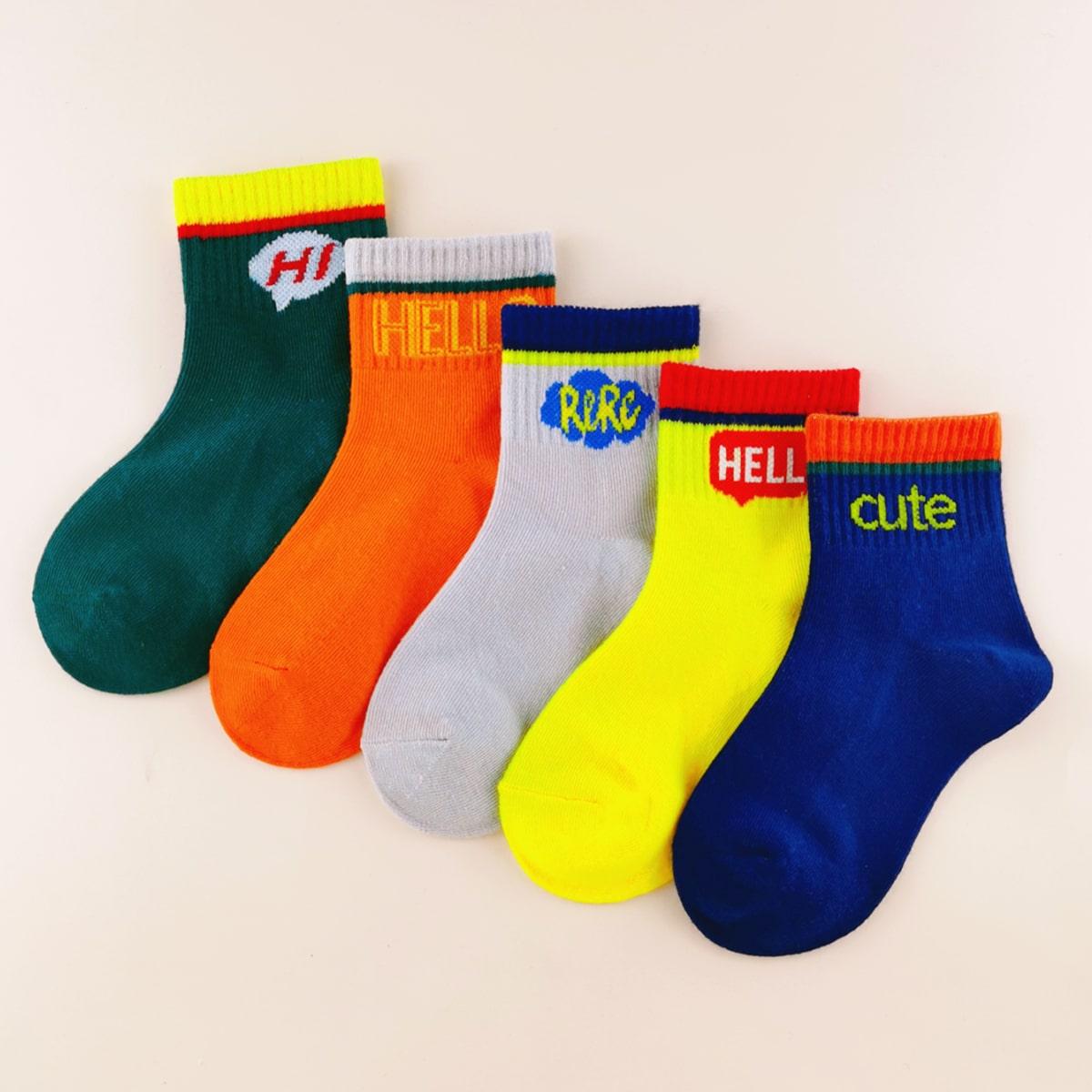5 пар детские носки с текстовым принтом фото