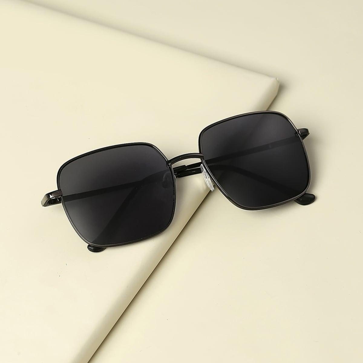 Детские квадратные солнечные очки в металлической оправе фото