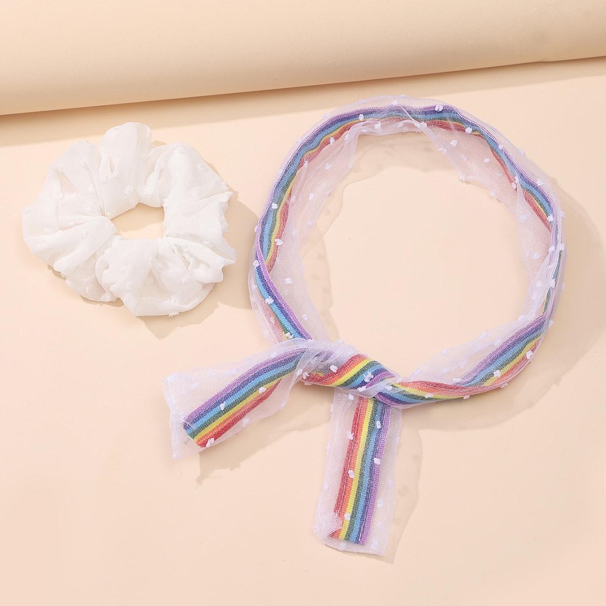 Радужная полосатая повязка и резинка для волос 2шт фото