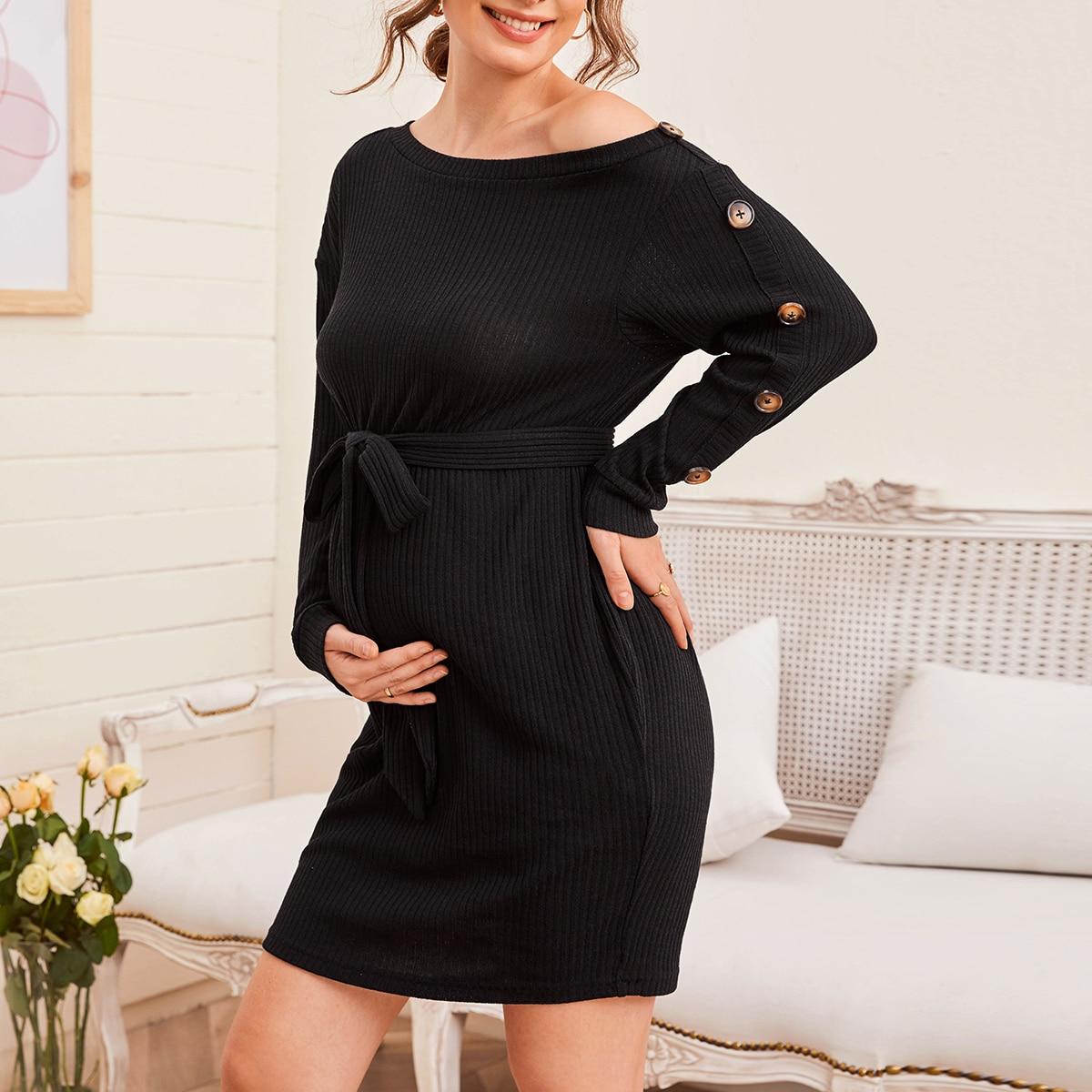 Асимметричное трикотажное платье для беременных с поясом от SHEIN