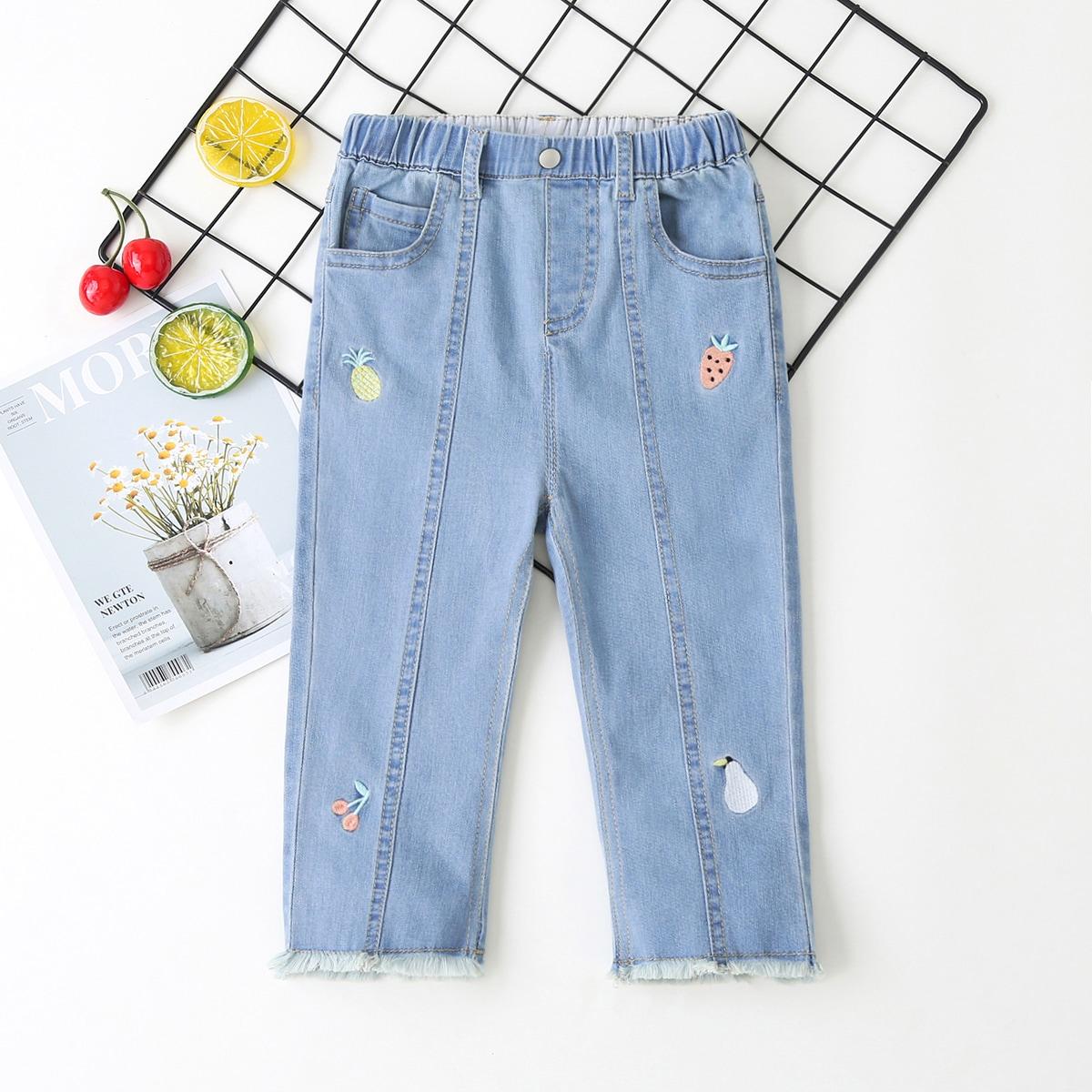 Легкий Синий Умывания с вышивкой Фрукты и овощи Повседневный Деним для девочек фото