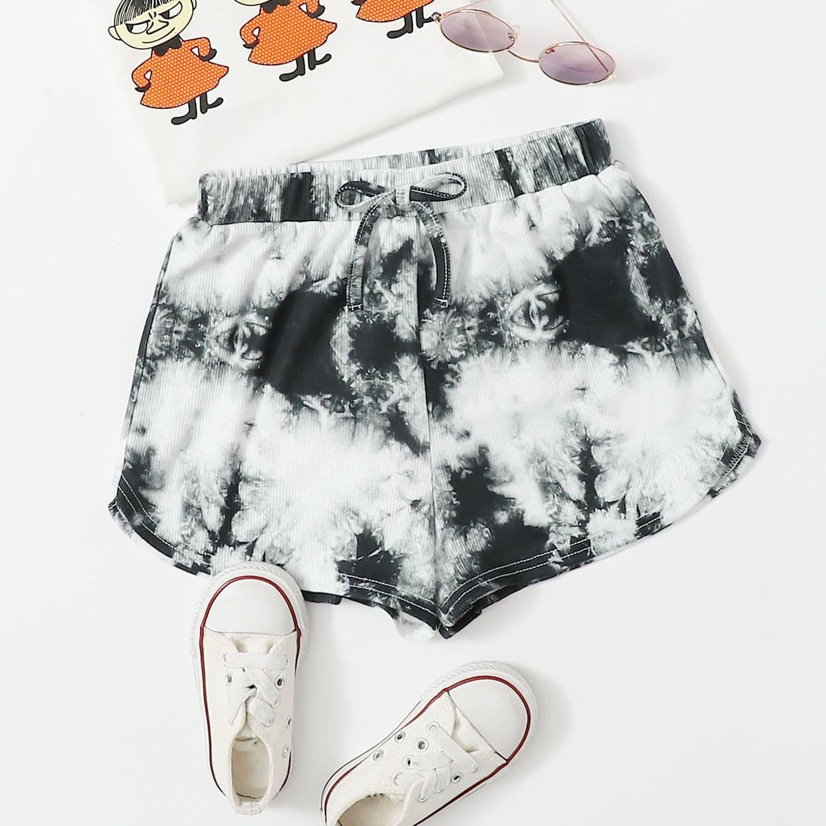 Разноцветные шорты с бантом для девочек от SHEIN