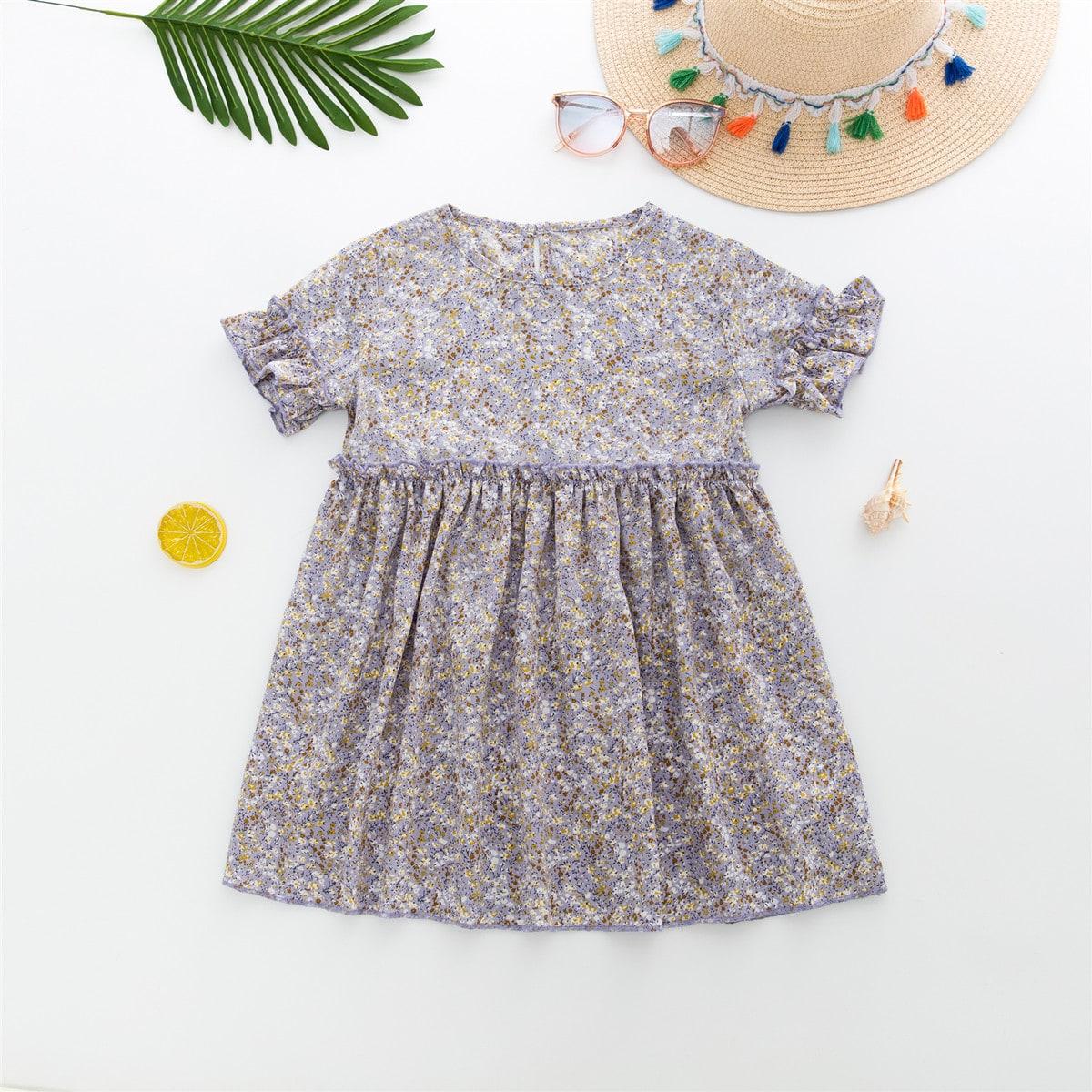 Многоцветный Оборка цветочный Бохо Платья для девочек фото