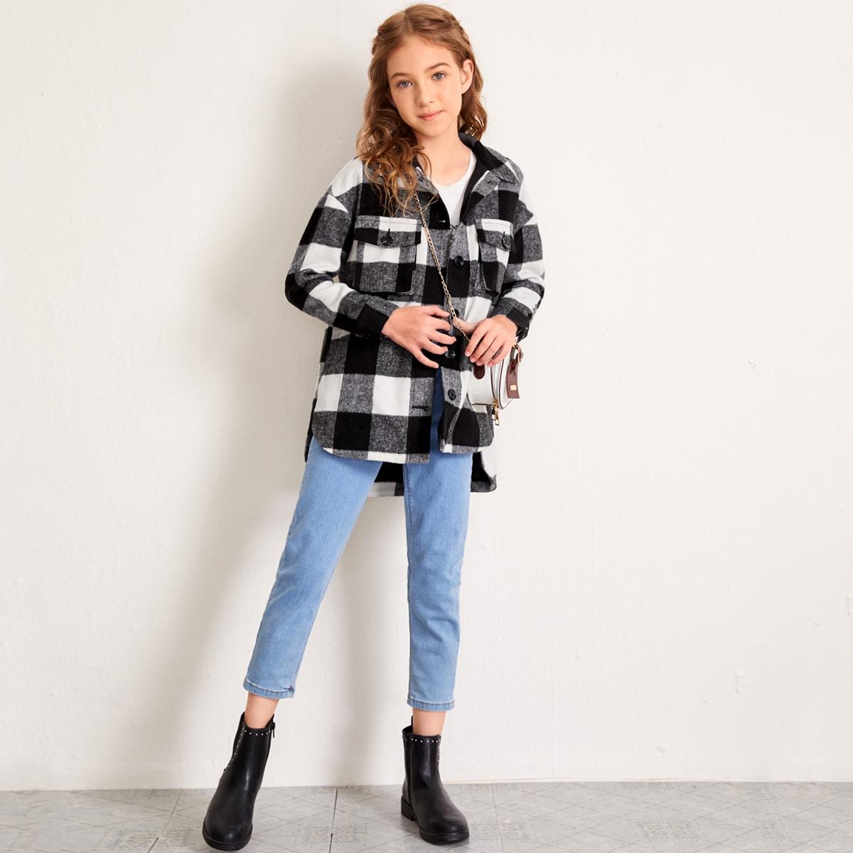 Асимметричная верхняя рубашка в клетку с карманами для девочек от SHEIN