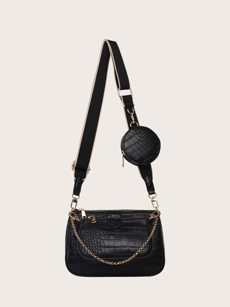 3pcs Croc Embossed Crossbody Bag With Pouch Bag