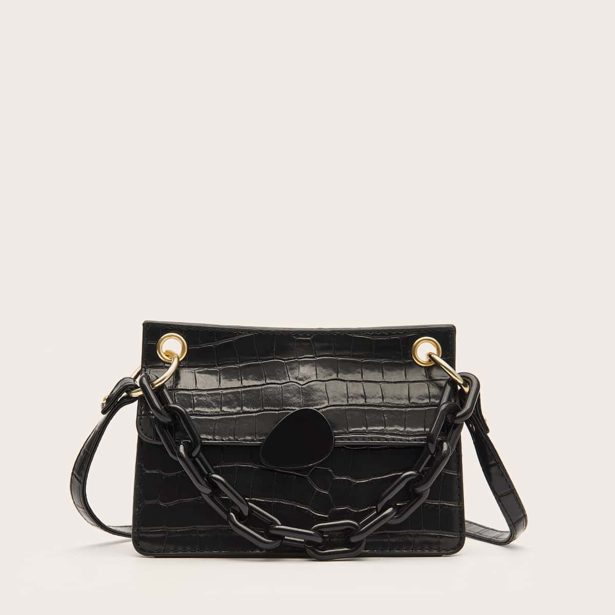 SHEIN / Chain Decor Croc Embossed Satchel Bag