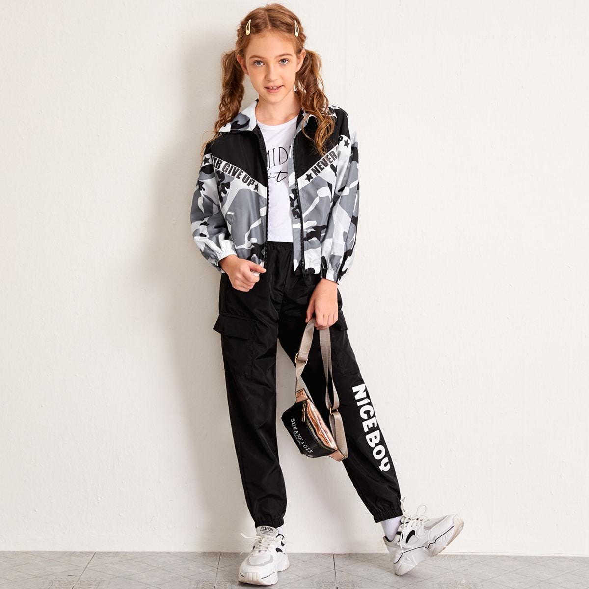 Куртка с камуфляжным и текстовым принтом для девочек от SHEIN