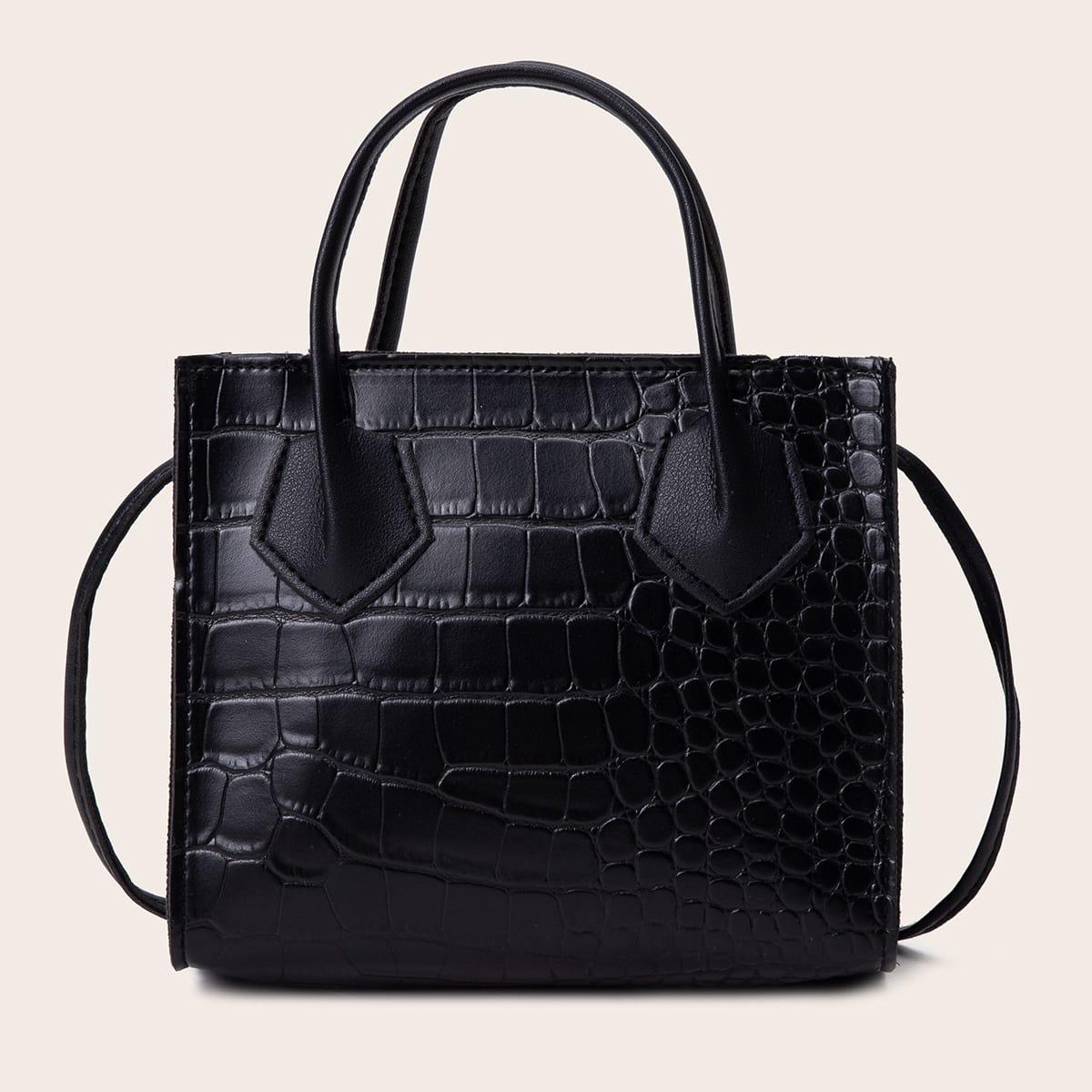 Минималистская сумка-сэтчел с рельефным узором фото