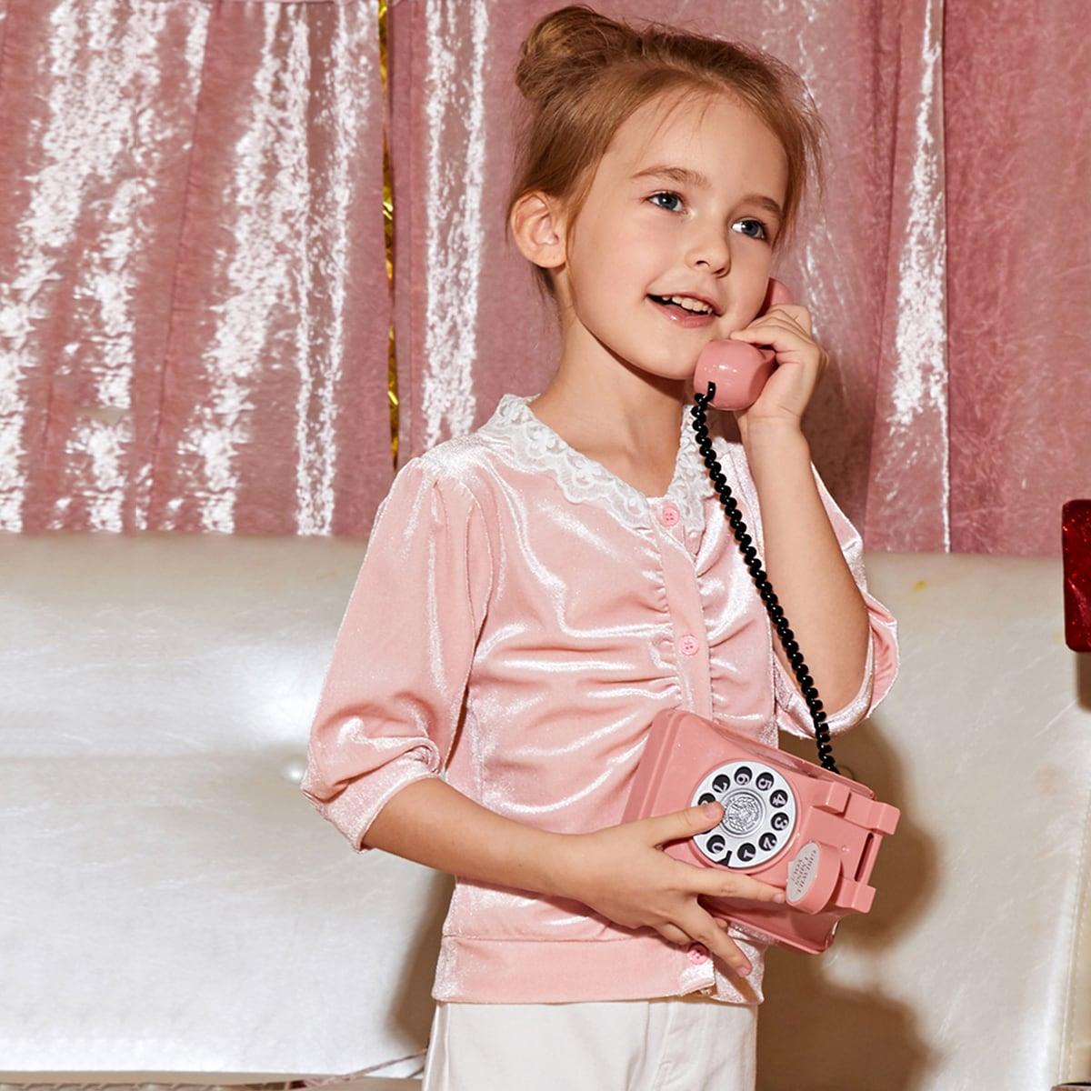 Нежний Розовый Контрастные кружева Контрастный цвет Повседневный Пальто для маленьких девочек от SHEIN