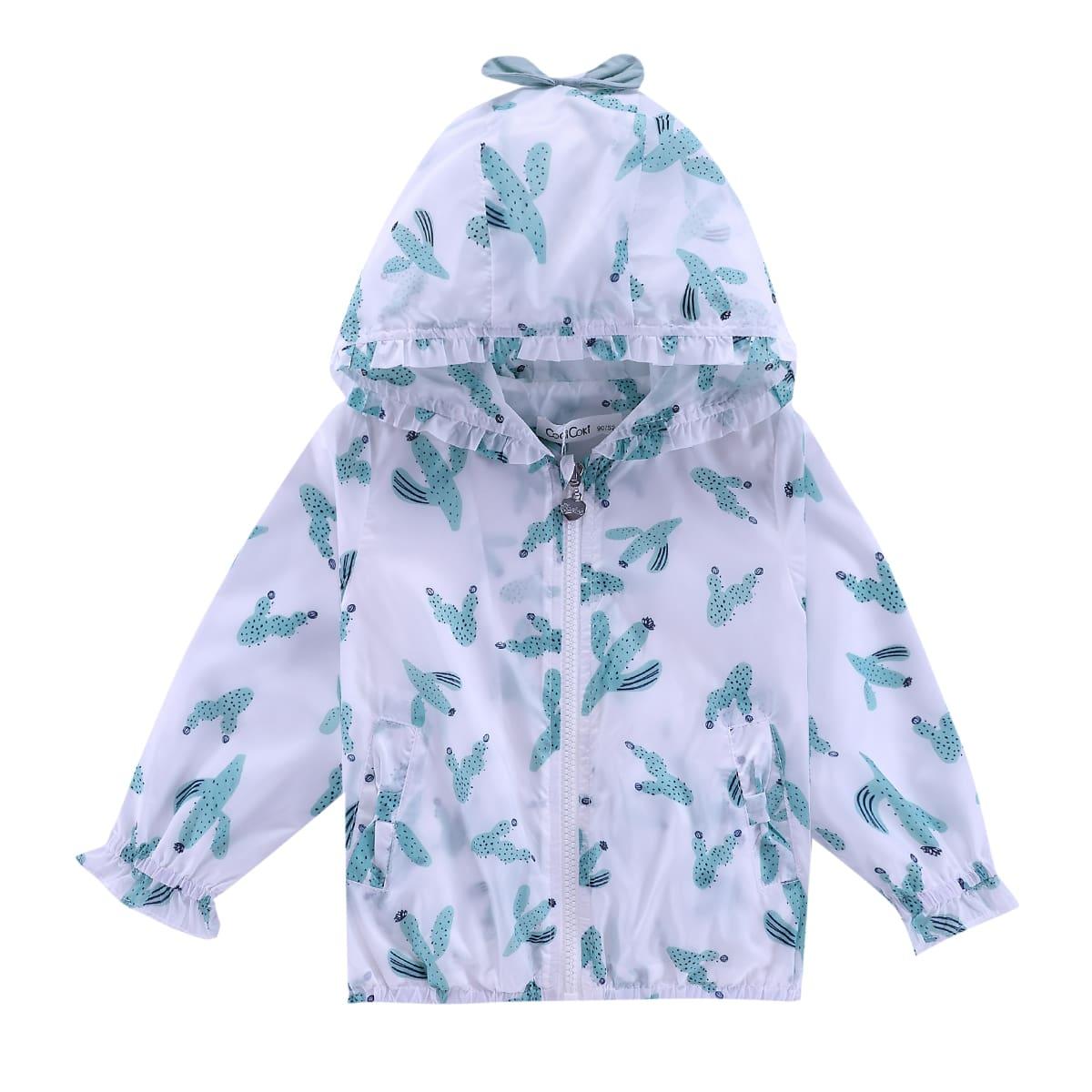 Солнцезащитная куртка на молнии с принтом кактуса для девочек от SHEIN