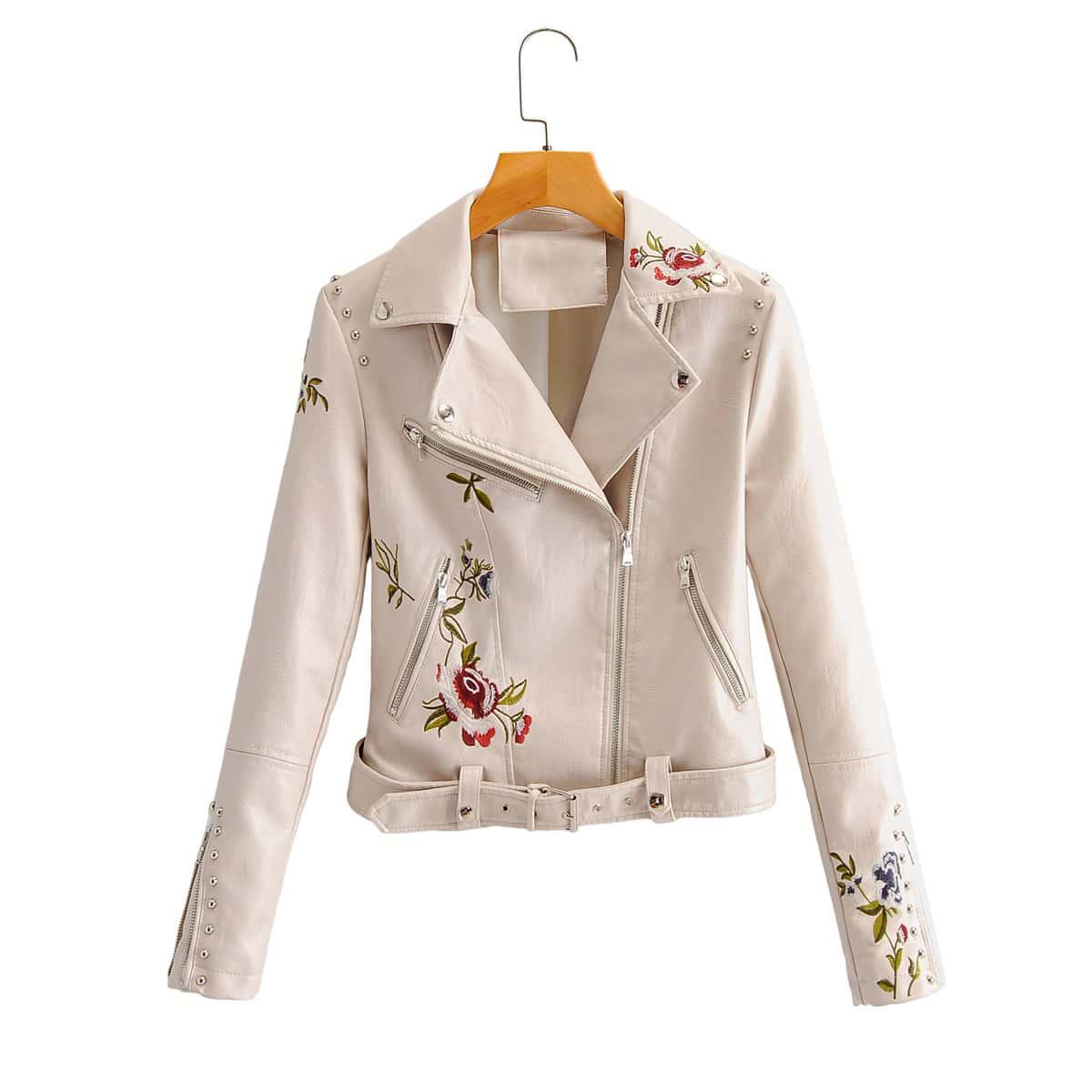 Молочно белый с вышивкой Цветочный Повседневный Куртки